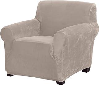 Great Bay Home Velvet Plush Stretch Arm Chair Slipcover. Velvet Chair Furniture Protector, Soft Anti-Slip, High Stretch (C...