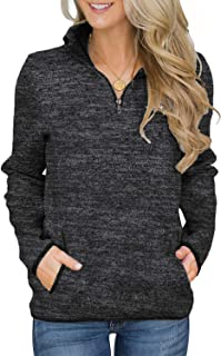 Women Casual Long Sleeve 1/4 Zipper Color Block...