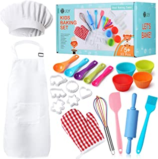 Real Kids Baking Set 32 piezas incluye delantal para niños, sombrero de chef, guante de horno, herramientas reales para hornear, el mejor regalo adecuado para niños y niñas