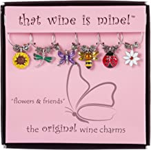 Wine Things WT-1611P Flowers & Friends, Painted Wine Charms, Fits neatly around stem, Multi-Color