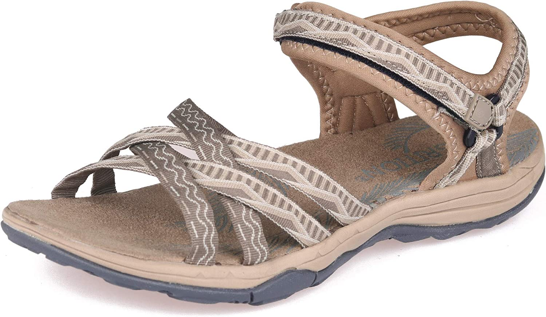 GRITION Women Hiking Sandals Wide Outdoor Girl Sport Summer Flat Beach Water Shoes Open Toe Adjustable Walking Shoes