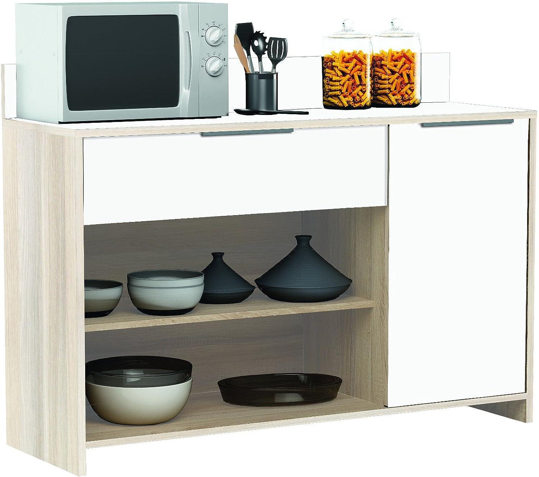 Habeig AKAZIE-Weiss Küchenschrank  228 Schrank Küchenregal Küchenmbel Singleküche Holz