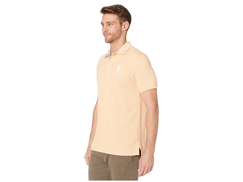 U.S. POLO ASSN. Slim Fit Big Horse Polo w/ Stripe Collar (Apricot Rays) Men's Short Sleeve Pullover