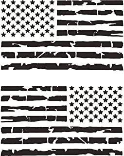 TOTOMO 2pc Tattered Subdued USA American Flag Decal (Matte Black 4
