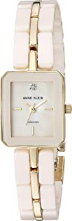 Anne Klein Women's AK/3304LPGB Diamond-Accented Gold-Tone and Light Pink Ceramic Bracelet Watch