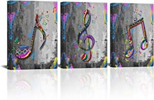 SkenoArt 3 Pieces Wall Art Music Art Print Canvas Colorful Musical Notes Painting Wall Decor Black and White Music Poster Framed for Classroom Home Living Room Bedroom Decor Ready to Hang