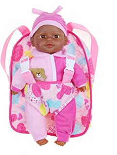 Soft Baby Doll With Take Along Pink Doll Backpack Carrier, Briefcase Pocket Fits Doll Accessories and Clothing African American 12 Inch