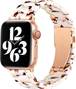 BESTIG Compatible with Resin Apple Watch Band 40mm 38mm 41mm Stainless Steel Buckle Waterproof for iWatch Series 6/5/4/3/2/1/SE/7 Replacement Strap for Women Men (Nougat White 38mm/40mm/41mm)