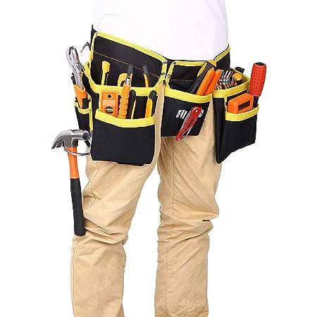 Ceinture porte-outils avec 11 poches, porte outils,en tissu Oxford imperméable, avec sangles réglables, pour électriciens, charpentiers, constructeurs