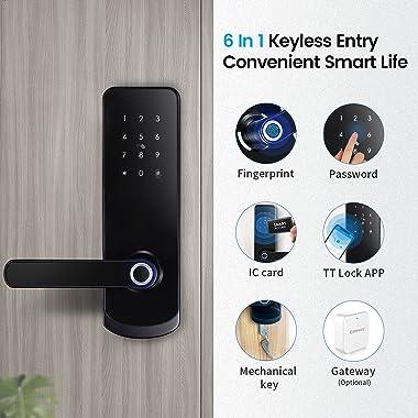 LOQRON Fingerprint Smart Door Lock, Security Keyless Entry Door Lock with Reversible Handle, Weatherproof Electronic Deadbolt