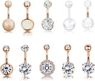 10 PCS 14G Surgical Steel Belly Button Ring Navel Ear Rings CZ Body Piercing Jewelry 10 mm/6 mm Bar