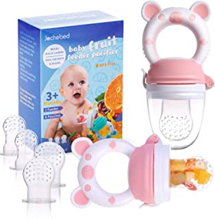 Baby Fruit Food Feeder Pacifier - Fresh Food Feeder, Infant Fruit Teething Teether Toy for 3-24 Months, 6 Pcs Silicone Pou...