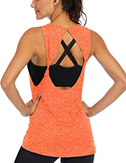 ICTIVE Womens Open Back Yoga Shirts Sleeveless Workout Tops for Women Racerback Tank Yoga Tops Fitness Muscle Tank