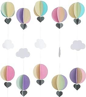 Hot Air Balloon Pastel 3D Paper Garland - Baby Room Nursery, Birthday & Baby Shower Decor (5 Strands, 5 Ft Per Strand)
