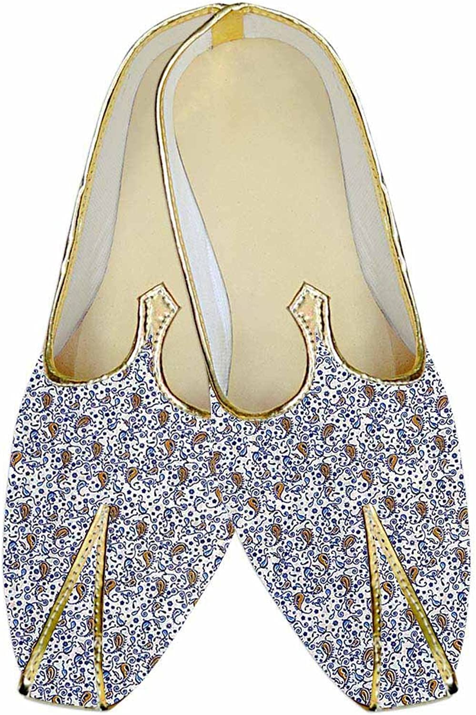 INMONARCH Mens White Wedding shoes Paisley Pattern MJ015185