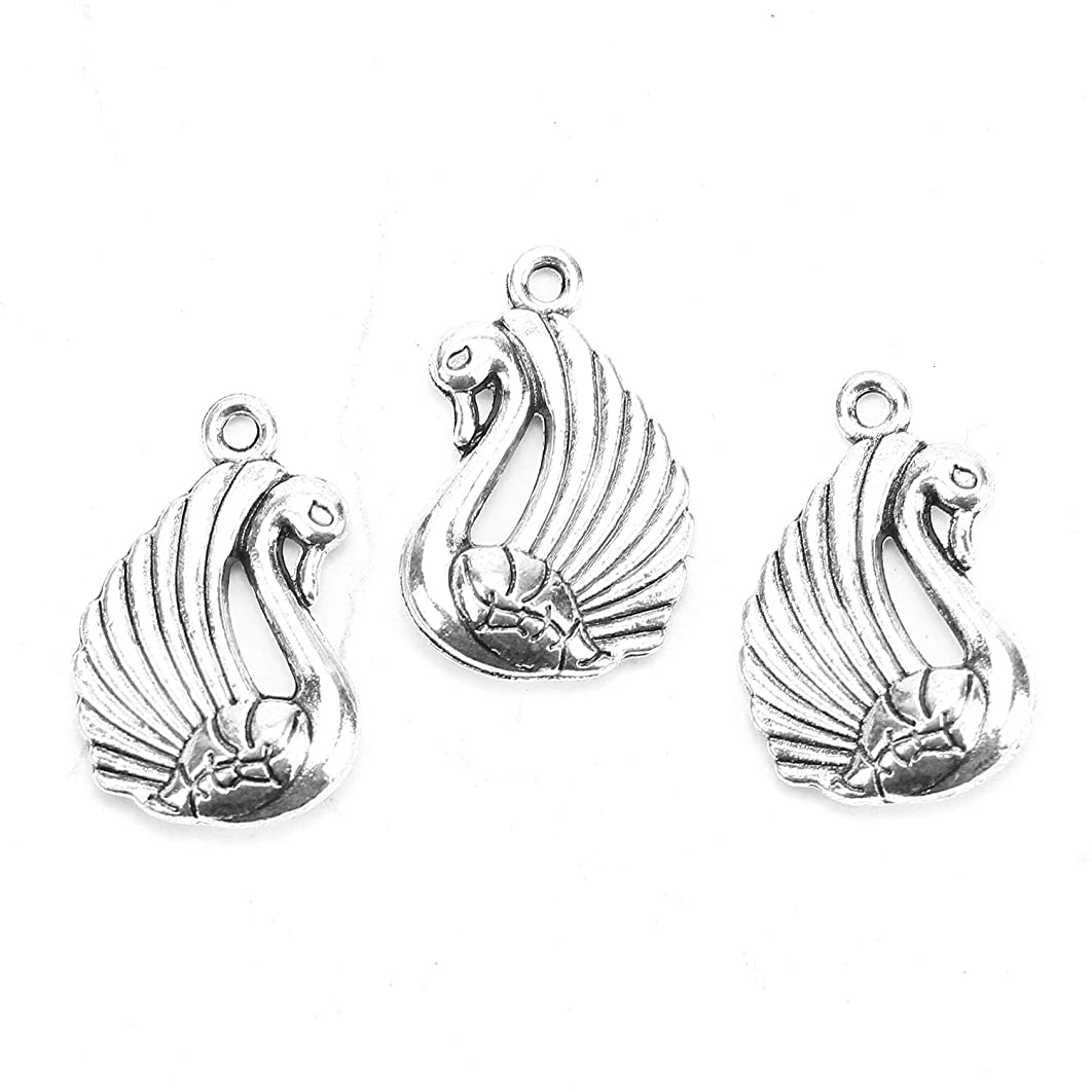 Monrocco 40Pcs Vintage Antique Silver Swan Charms Pendant Jewelry Findings for Jewelry Making Necklace Bracelet DIY 29x21mm