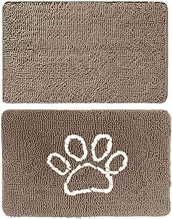 Gorilla Grip Original Indoor Durable Chenille Doormats, 60x36 Beige and 24x17 Paw Beige Ivory, 2 Item Bundle