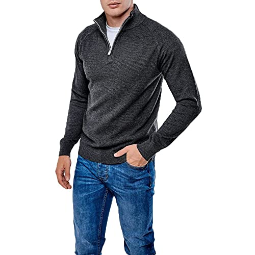 d99ad7b0f90 Mens Threadbare Textured 1 4 Zip Neck Jumper Sweater Top Pullover Soft  HALTON