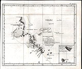Kerguelen or Desolation Islands Pacific Captain Cook 1801 antique engraved map