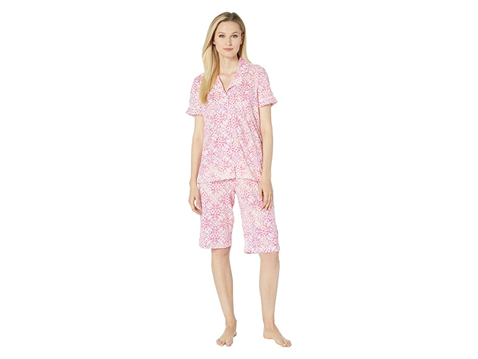 LAUREN Ralph Lauren Short Sleeve Notch Collar Bermuda Pajama Set (Pink Print) Women