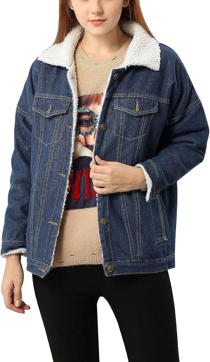 Omoone Women's Lapel Collar Sherpa Fleece Lined Denim Jean Trucker Jacket Coat