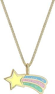 Elli Collares Collar de niños con esmalte de estrella fugaz en plata de ley 925 chapado en oro