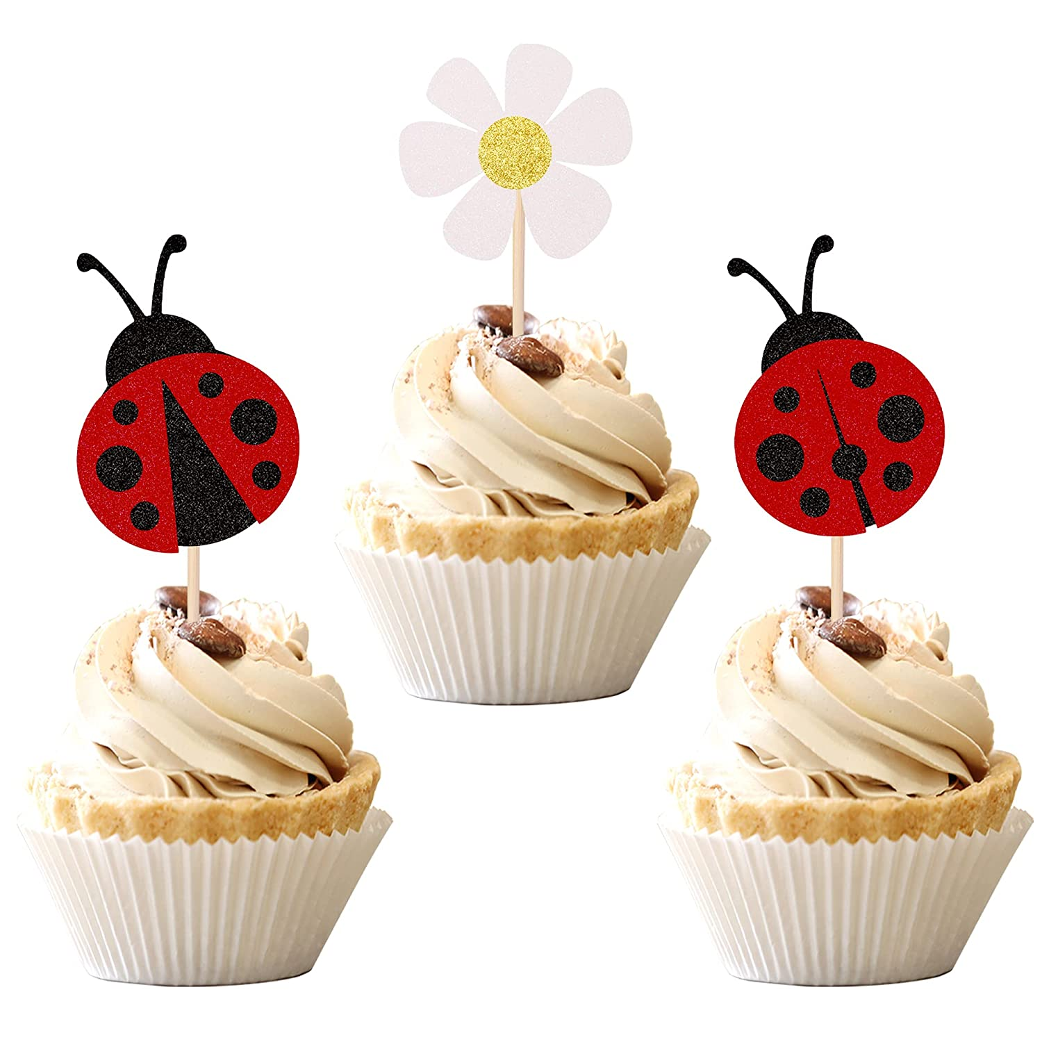 36 PCS Ladybug Cupcake Toppers 2021 P Insects Glitter price Flowers