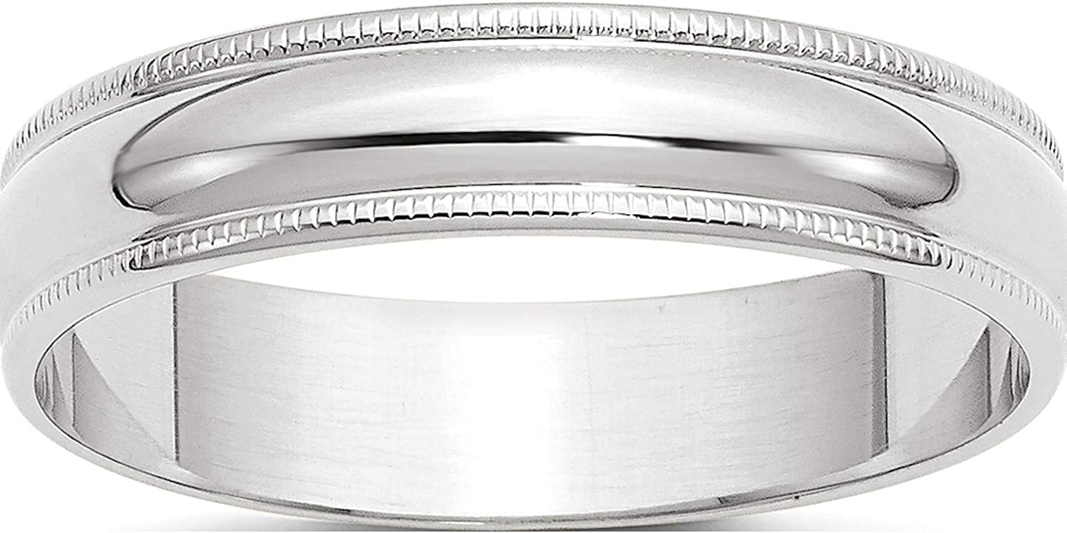 10K White Sales of SALE items from new works safety Gold 10Kw 5mm Ltw Milgrain W Round 5.5 Size Band Half