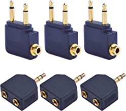 Jdesun 6pcs Airplane Airline Flight Audio Jack Adapters Converter Connector for Headphones Earphone(2style, Golden Plated)