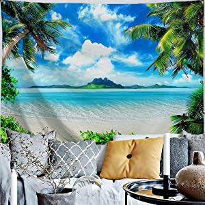 PROCIDA Ocean Beach Tapestry Tropical Sea Coconut Palm Tree Island SceneTapestry Nature Beach Theme Tapestry Wall Hanging for Bedroom Home Dorm Decoration, 60