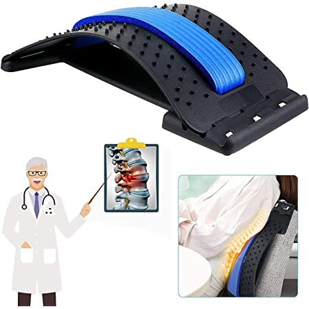 KOUZZINA Back Stretching Device, Lumbar Back Stretcher Tool for Office Chair, Home, Car, Seat to Relieve Pain (Black) - (Pack Of -1)