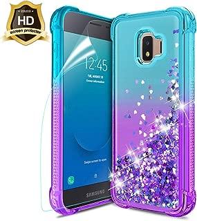 Samsung Galaxy J2 Case 2019,Galaxy J2 Core/J2 Pure/J2 Dash Phone Case w/HD Screen Protector,Slim TPU Glitter Liquid Quicksand Four Corner Shockproof Protective Case for Girls Women (Teal/Purple.)