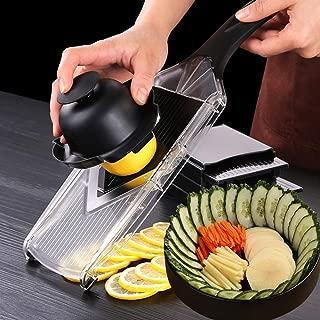 Vegetable Cutter Fruit Slicer Adjustable Mandoline Slicer Stainless Steel Grater Vegetable Julienne Slicer Manual Cutter Vegetable Grater Kitchen Potato Cutter with 5Pcs Blades