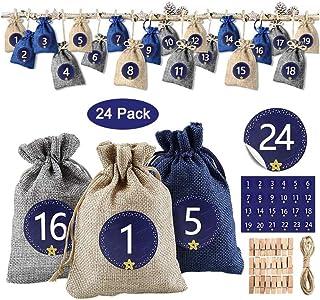 TZOU Christmas Arrival Calendar, Gift Bag and 1-24 Digital Stickers for DIY Artisan Children