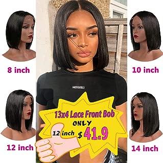 12'' Short Bob Lace Front Wigs Human Hair 9A Brazilian Human Hair Lace Front Wigs Straight Bob Lace Front Wigs Bob Wigs for Black Women 13x4 Lace Part 150% Density