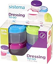 Sistema To Go Collection 1.18 oz. Salad Dressing Containers, Pink/Green/Blue/Purple, 4..