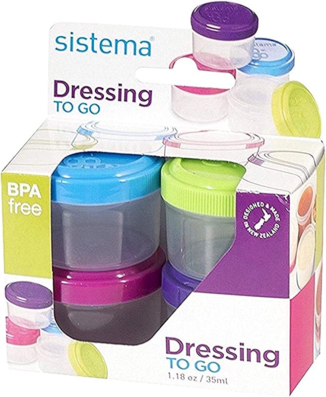 Sistema To Go Collection 1 18 Oz Salad Dressing Containers Pink Green Blue Purple 4 Pack BPA Free Reusable