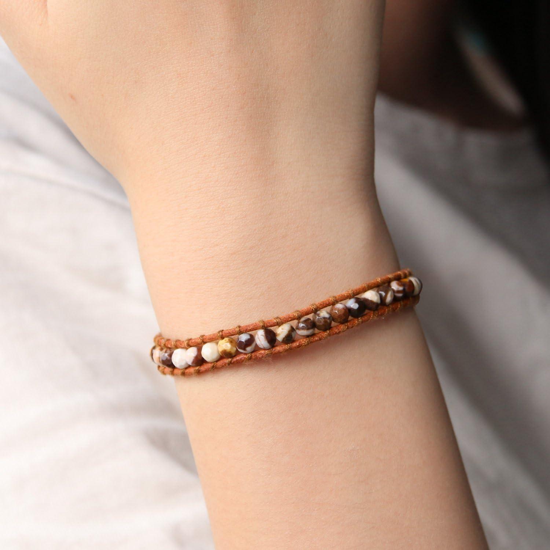 KELITCH Agate Beads Strand Bracelets Leather Wrap Bracelet Handmade Cuff Adjustable Bracelet New 2020