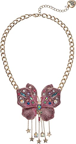 Betsey Johnson Pink Glitter Butterfly Pendant Necklace