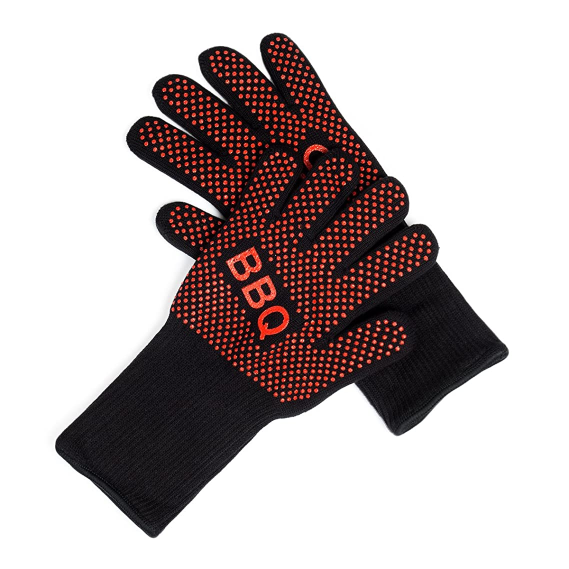 HUIQMALL Heat Resistant Oven Mitts BBQ Grilling Cooking Gloves 13inch Long for Extra Forearm Protection,1 Pair(Black & Red)