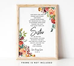 Gift for Sister Art Print, Personalized Floral Watercolor Poem