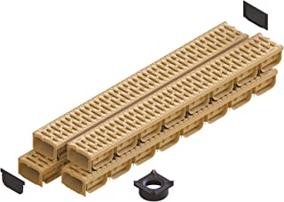 Standartpark - 4 Inch Trench Drain System With Grate - Sand - Tan Color - Spark 2 Channel (4 pack)