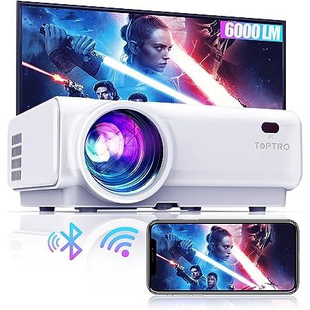 Proyector WiFi Bluetooth, 6000 Lúmenes TOPTRO Proyector Soporte 1080P Full HD, Mini Proyector Portátil, Zoom X/Y, Proyector WiFi LED 90000H, Proyector para movil/Fire TV Stick/PS5 con Cable HDMI y AV