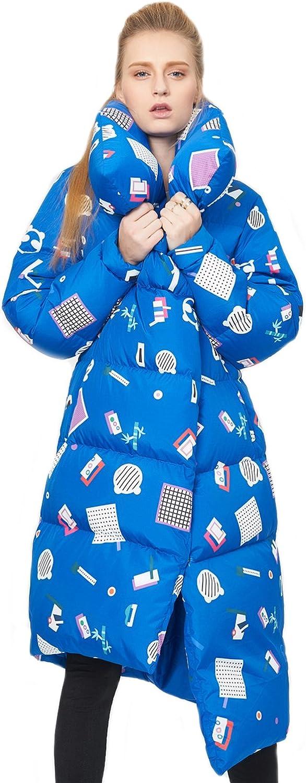 Tortor 1bacha Women's OffCenter Fashion Print Winter Long Down Coat