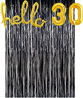 30th Birthday Party Backdrop - Black Gold Fringe Curtain Hello 30 Foil Balloon Party Backdrop 30th Birthday Decroations