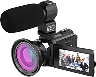 4K 1080P 48MP WiFi Digital Video Camera Camcorder Recorder with 2pcs Rechargeable Batteries + 0.39X Wide Angle Macro Lens ...
