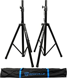 Rockville Pair of Tripod DJ PA Speaker Stands + Carrying Case Black, (RVSS2)