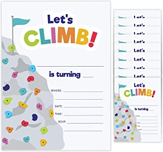 Rock Climbing Style 1 Happy Birthday Invitations Invite Cards (10 Count) With Envelopes Boys Girls Kids Party (10ct)