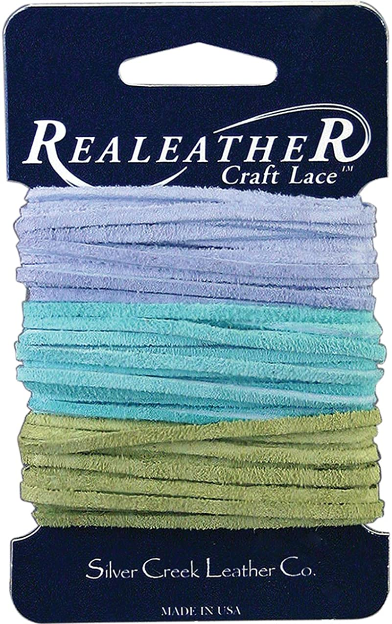 Realeather Crafts SPS08-2996 Soft-Suede Wide Carded Lace, 0.094 by 8-Yard, Light Blue/Aqua/Kiwi