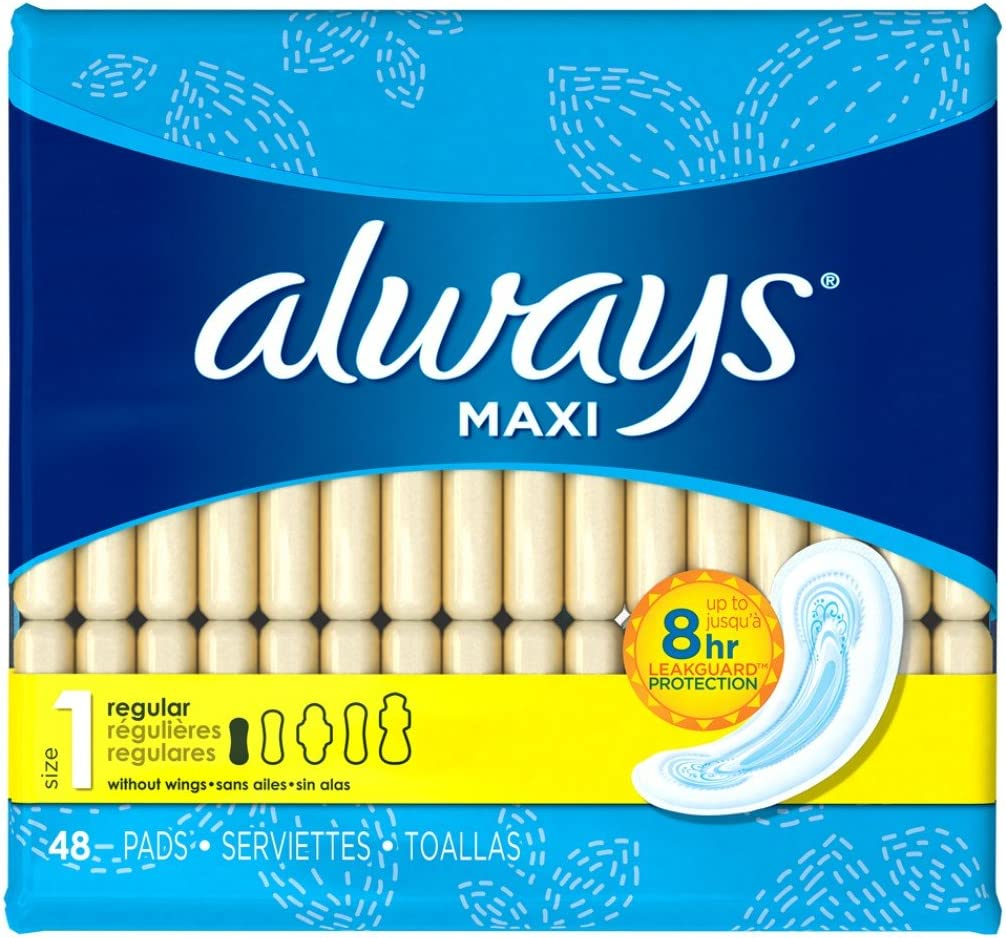 Always Maxi Pads without Wings, Unscented, Regular Pack of 2